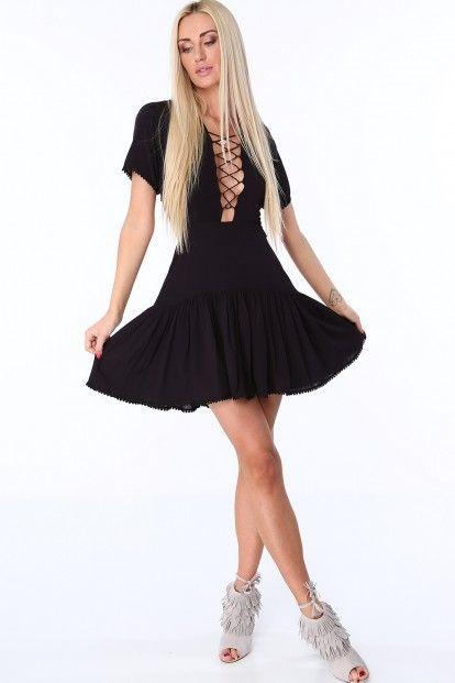 da5bb4d71af4 Čierne dámske šaty so šnurovaním na prednej a zadnej strane značky Fasardi  - Lovely.sk