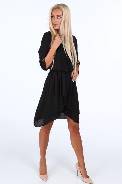 b6b3a4cfc6e9 Čierne dámske šaty s viazaním v páse značky Fasardi - Lovely.sk