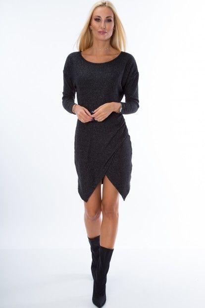 0d913c963 Asymetrické šaty s dlhým rukávom v trendy prevedení, čierne značky Fasardi  - Lovely.sk