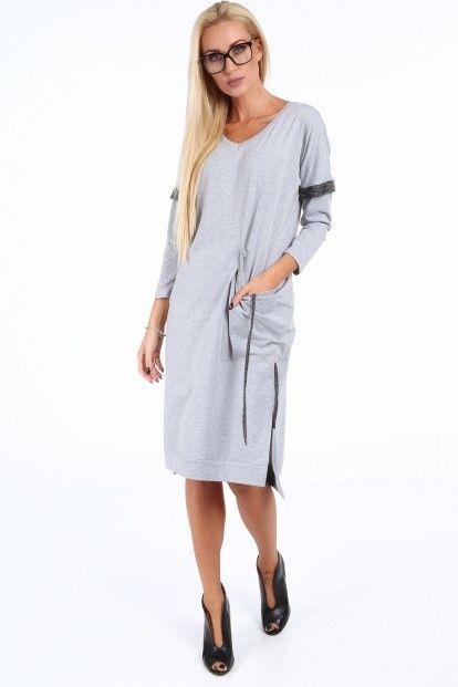 56607fd65440 Sivé voľné dámske šaty s V výstrihom značky Fasardi - Lovely.sk