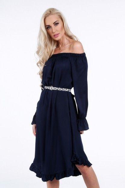 1c36ea689d98 Tmavomodré šaty s volánikom značky Fasardi - Lovely.sk