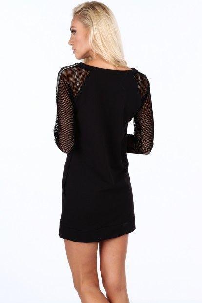 412b906b5572 Čierne športové šaty s rukávmi zo sieťkoviny značky Fasardi - Lovely.sk
