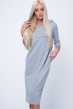 86b0cb3baef2 Tmavosivé voľné dámske šaty s V výstrihom značky Fasardi - Lovely.sk