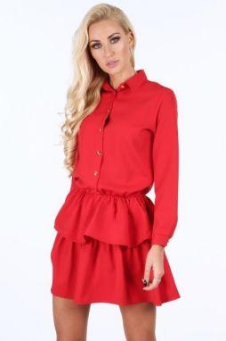 Červené kárované šaty s golierom Bohemian Tailors Carola značky ... c8c55776c49