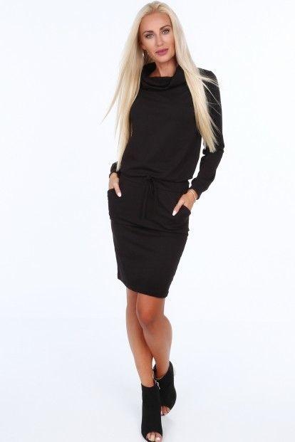 c3c9b6052236 Čierne dámske šaty so širokým golierom značky Fasardi - Lovely.sk