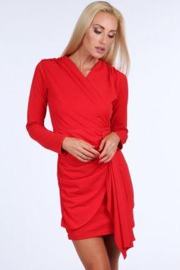 336979797507 Červené krátke letné dámske šaty s dlhými rukávmi