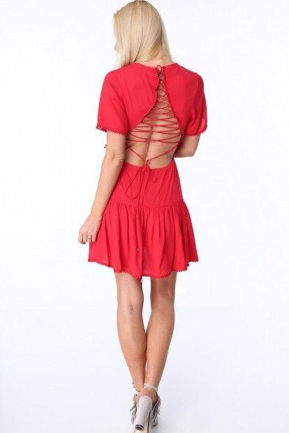 Červené dámske šaty so šnurovaním na prednej a zadnej strane značky ... 34cdb272459