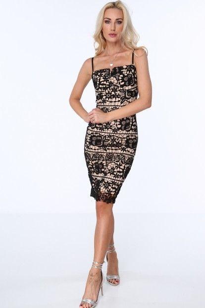 d34003e7778d Čierne dámske čipkované šaty s tenkými ramienkami značky Fasardi ...