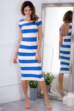 fb7b8ff992bc Letné pásikavé modré midi šaty s krátkym rukávom značky Fasardi ...