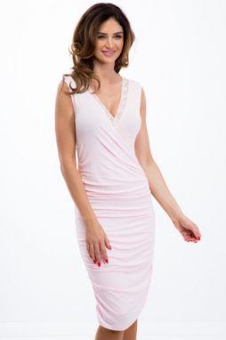 b639a2a6eb Lososové šaty s výrezmi na pleciach a volánmi značky Fasardi - Lovely.sk