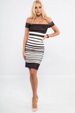 b511dc4d4a Čierne šaty s výrezmi na pleciach a volánmi značky Fasardi - Lovely.sk