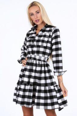 0fce6b0ed2fc Čierno-biele kockované dámske šaty
