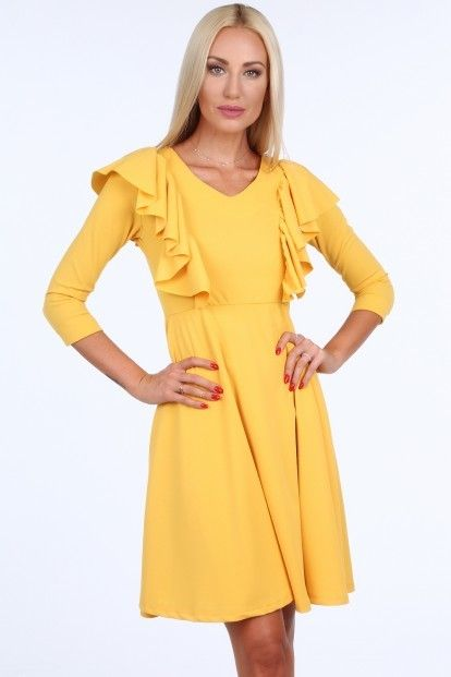 4c2e1308154e Žlté krátke dámske šaty s volánmi značky Fasardi - Lovely.sk