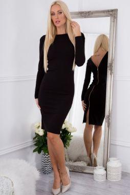 15a8e2a17 Priliehavé šaty s dlhým rukávom, výstrihom a zipsom na zadnej strane, čierne  galéria