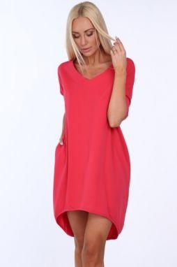 bdc02676e Dámske letné šaty s výstrihom v tvare písmena V, ružové