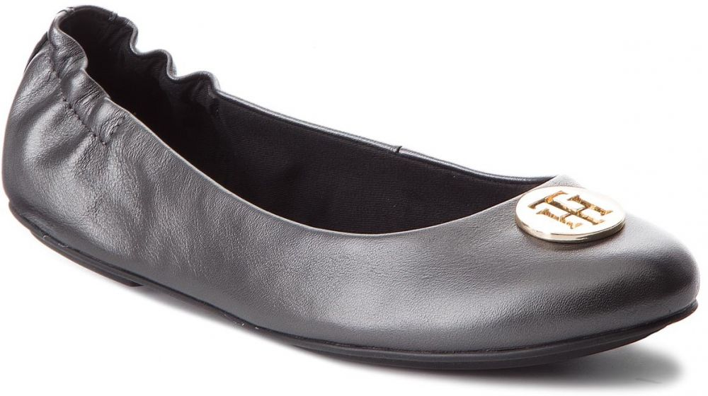 Baleríny TOMMY HILFIGER - Pearlized Leather Ballerina FW0FW03412 Black 990 cdf92f5d18