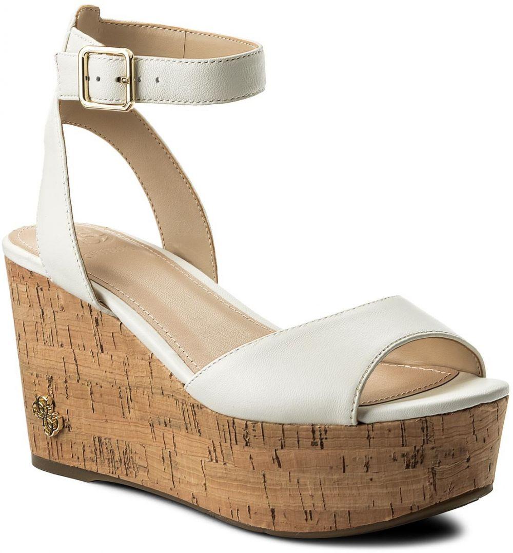 ... na klinovom podpätku. Sandále GUESS - Nicolla FLNIC1 LEA03 CREAM d0a403a2a0