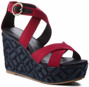 Sandále TOMMY HILFIGER - Th Pattern Wedge Sandal FW0FW02800 Scooter Red 614