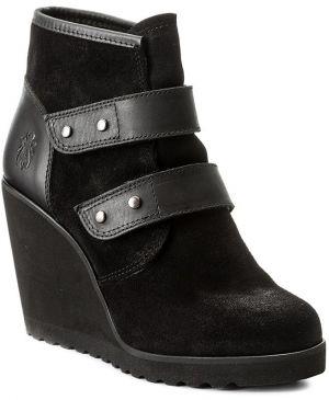 92d43b91029d Čierne dámske kožené členkové topánky na platforme FLY London značky ...