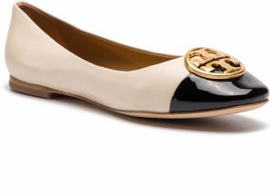 Baleríny TORY BURCH - Chelsea Cap-Toe Ballet 46882 New Cream/Perfect Black 100