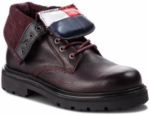 Členková obuv TOMMY JEANS - Big Flag Lace Up Boo EN0EN00338 Decadent Chocolate 296