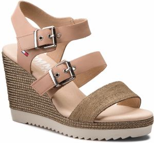 Sandále TOMMY JEANS - Denim Strappy Wedge Sandal EN0EN00195 Nude 003
