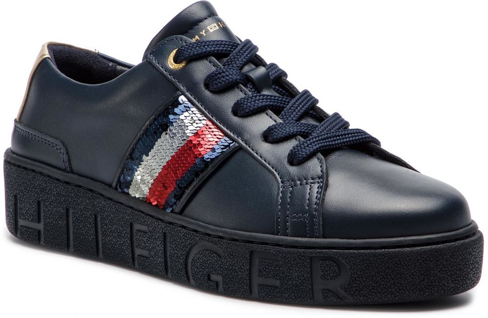 37bd28c0e Sneakersy TOMMY HILFIGER - Tommy Sequins Fashion Sneaker FW0FW03704 Midnight  403 značky Tommy Hilfiger - Lovely.sk