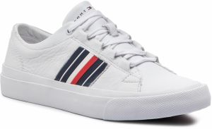 Sneakersy TOMMY HILFIGER - Corporate Leather Low Sneaker FM0FM01943 White 100