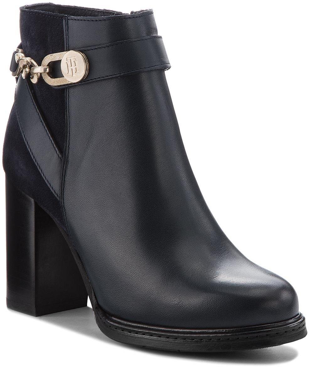 Členková obuv TOMMY HILFIGER - Th Chain Heeled Boot FW0FW03449 Midnight 403 6c7b8ce12bb