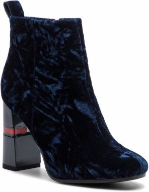 Členková obuv TOMMY JEANS - Crushed Velvet Heeled Boot EN0EN00397 Midnight 403