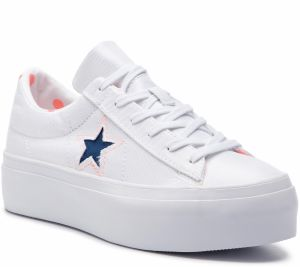 Tenisky CONVERSE - One Star Platform Ox 560700C White/Crimson Pulse/Navy
