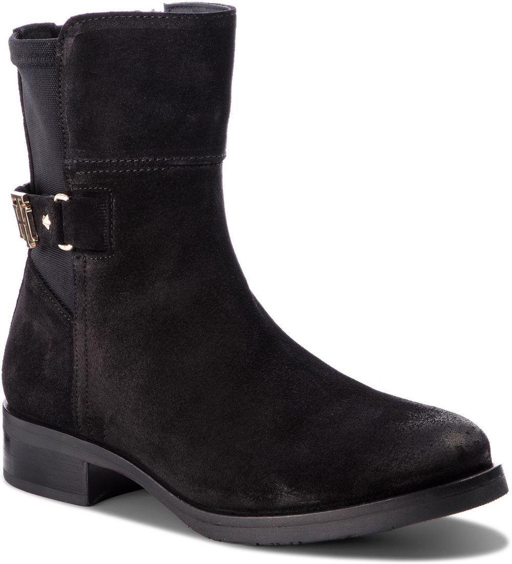 1612654815 Členková obuv TOMMY HILFIGER - Th Buckle Bootie Str FW0FW03066 Black 990  značky Tommy Hilfiger - Lovely.sk