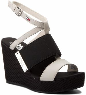 Sandále TOMMY JEANS - Material Mix Wedge Sandal EN0EN00048 Off White 156