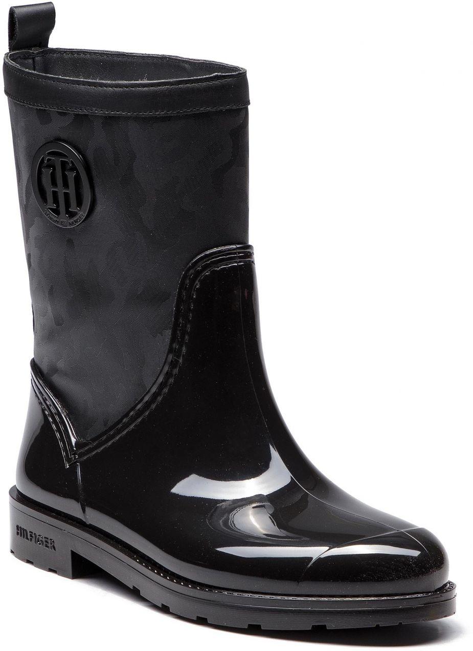 a9c3a4df6b Gumáky TOMMY HILFIGER - Shiny Camo Rain Boot FW0FW03318 Black 990 značky Tommy  Hilfiger - Lovely.sk