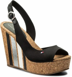 Sandále TOMMY HILFIGER - Wedge With Printed Stripes FW0FW02794 Black 990