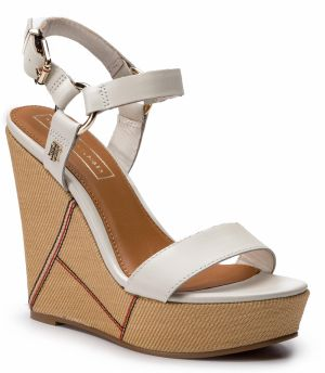 Sandále TOMMY HILFIGER - Elevated Leather Wedge Sandal FW0FW03943 Whisper White 121
