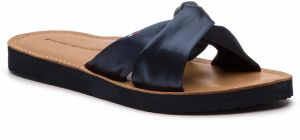 Šľapky TOMMY HILFIGER - Satin Elevated Beach Sandal FW0FW04014 Midnight 403