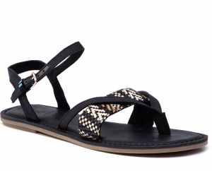 Sandále TOMS - Lexie 10013303 Black Canvas/Geometric Woven