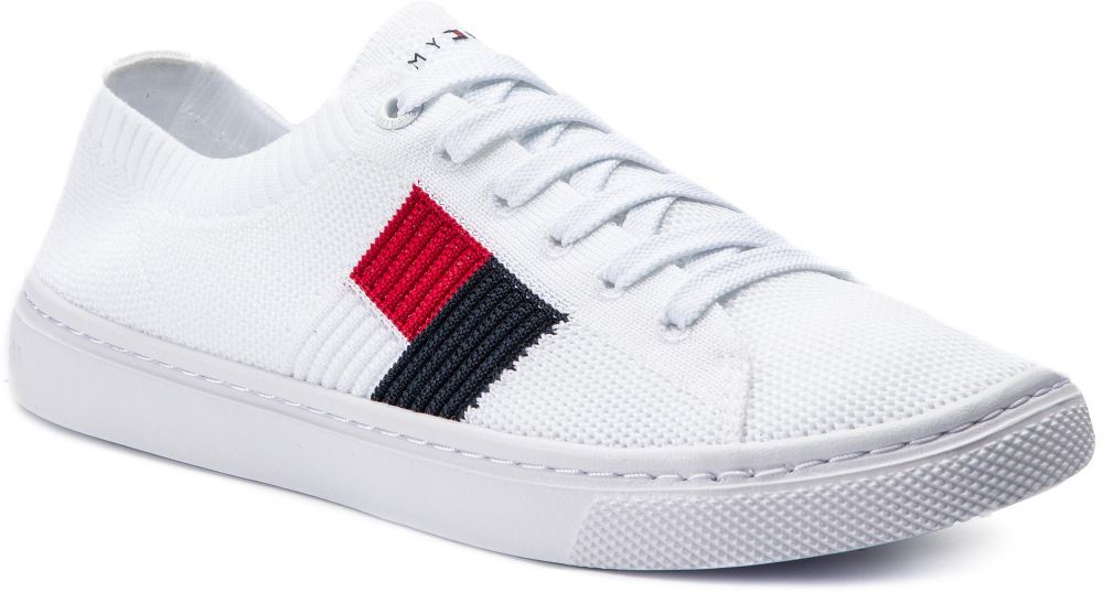 aa1a84c315352 Tenisky TOMMY HILFIGER - Knitted Flag Lightweight Sneaker FW0FW04150 White  100 značky Tommy Hilfiger - Lovely.sk