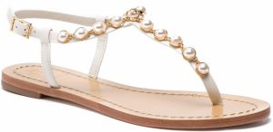Sandále TORY BURCH - Emmy Pearl Thong 52011 Linen White 157