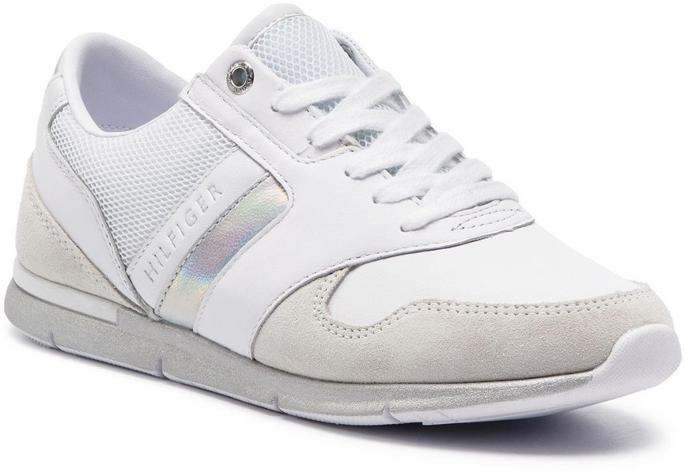 17ee7f9dd69f3 Sneakersy TOMMY HILFIGER - Iridescent Light Sneaker FW0FW04100 White/Silver  902