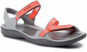 Sandále CROCS - Swiftwater Webbing Sandal W 204804 Bright Coral/Light Grey