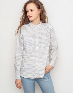 Re:draft PRINT BLOUSE POCKETS Offwhite