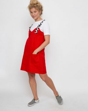 Lazy Oaf Buckle Pinafore Red