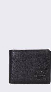 Herschel Supply Hank + Coin Leather RFID Black Pebbled Leather