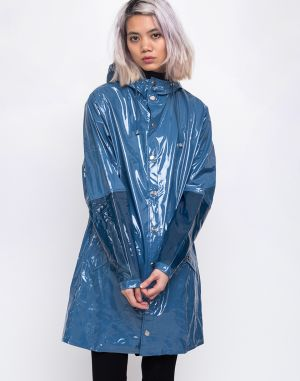 Rains LTD Long Jacket 73 Glossy Faded Blue