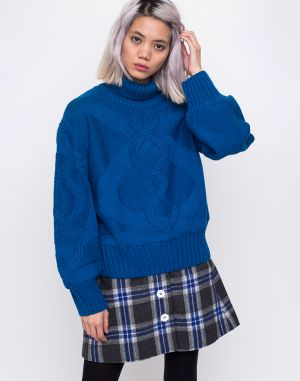 House of Sunny Turtleneck Cable Knit Jumper Intense Blue 86cf1e5d048
