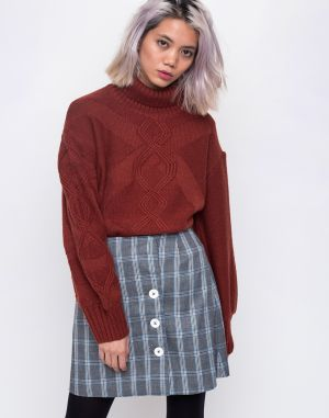 House of Sunny Turtleneck Cable Knit Jumper Reddish Brown