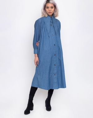 House of Sunny Western Full Length Shacket Authentic Blue