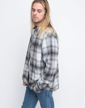 Stussy Zip Up Crepe Plaid Grey
